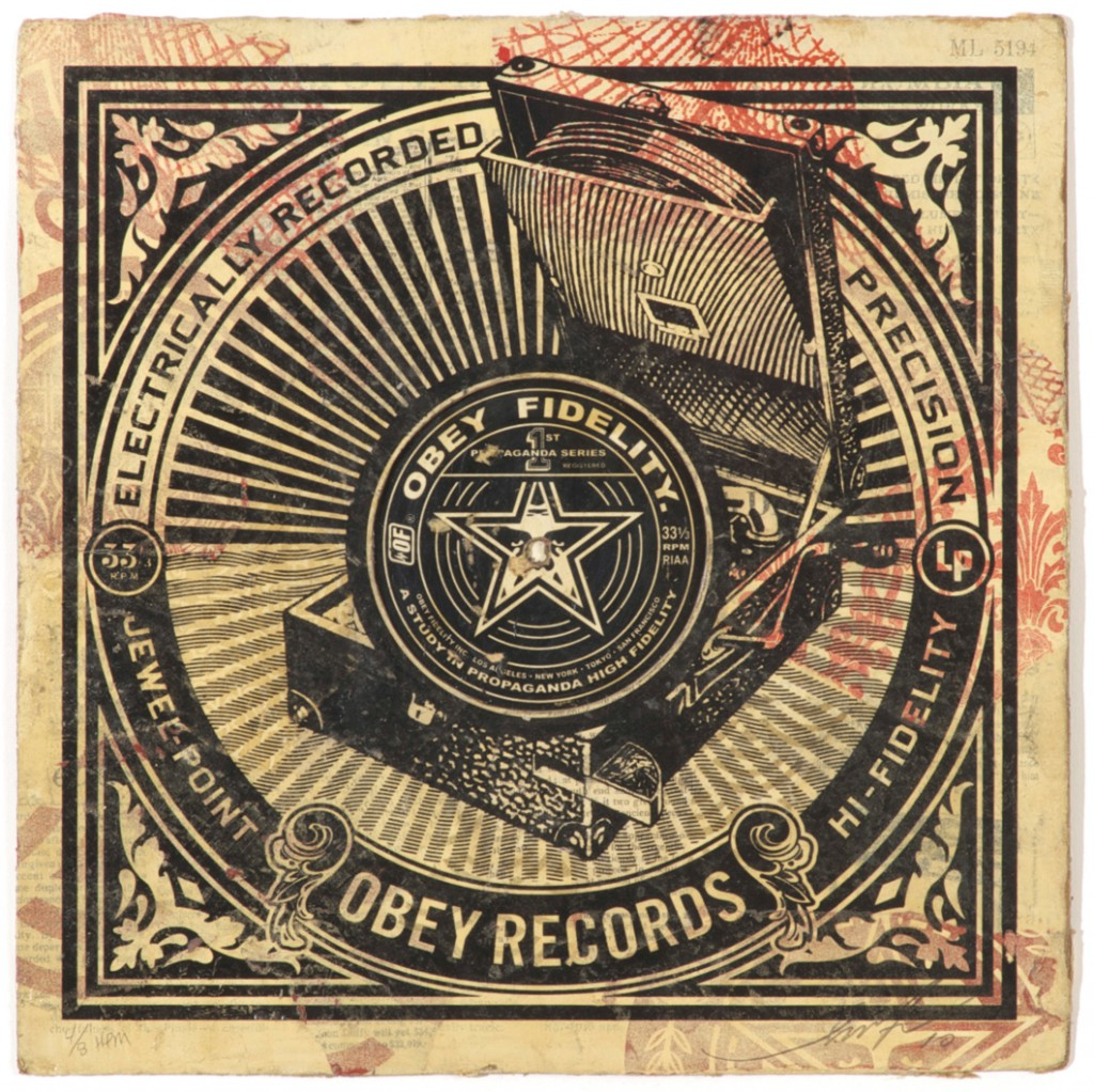 Shepard  Fairey -  <strong>Jewel Point</strong> (2011<strong style = 'color:#635a27'></strong>)<bR /> Silkscreen and mixed media collage on album cover,   12 x 12 inches  (framed size TBD),   Hand painted multiple (HPM)  Signed and numbered   Edition of 8