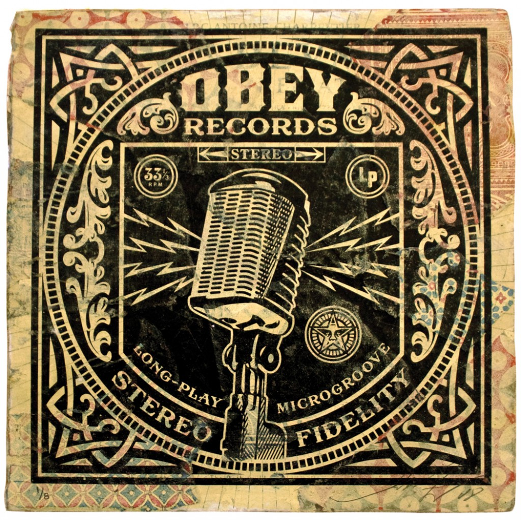 Shepard  Fairey -  <strong>Long Play (Microphone)</strong> (2011<strong style = 'color:#635a27'></strong>)<bR /> Silkscreen and mixed media collage on album cover,   12 x 12 inches  (framed size TBD),   Hand painted multiple (HPM)  Signed and numbered   Edition of 8