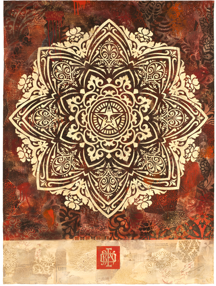 Shepard  Fairey -  <strong>Mandala Ornament</strong> (2010<strong style = 'color:#635a27'></strong>)<bR /> silkscreen and mixed media collage on paper  hand-painted multiple (HPM),   51 x 38 inches   (129.54 x 96.52 cm)