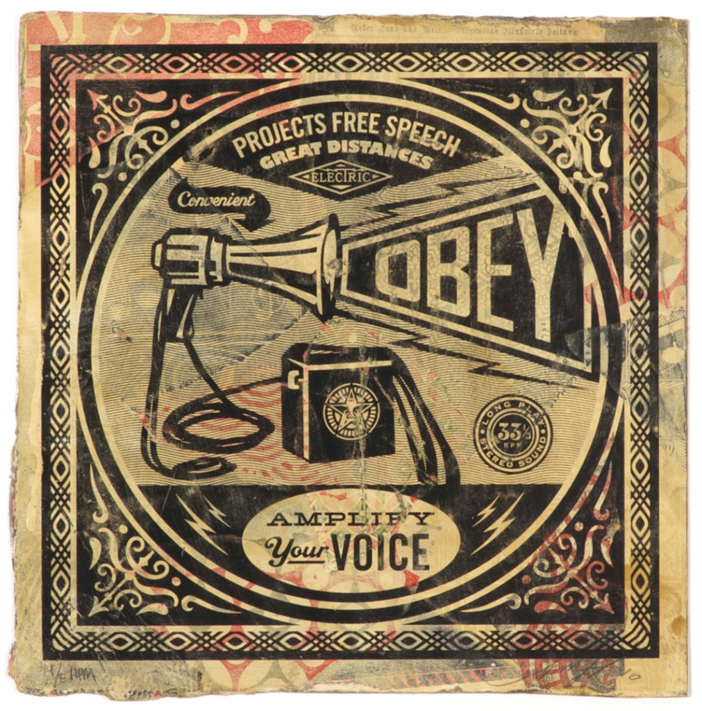 Shepard  Fairey -  <strong>Megaphone</strong> (2011<strong style = 'color:#635a27'></strong>)<bR /> Silkscreen and mixed media collage on album cover,   12 x 12 inches  (framed size TBD),   Hand painted multiple (HPM)  Signed and numbered   Edition of 8