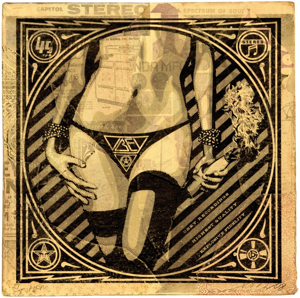 Shepard  Fairey -  <strong>Molotov Hips</strong> (2011<strong style = 'color:#635a27'></strong>)<bR /> Silkscreen and mixed media collage on album cover,   12 x 12 inches  (framed size TBD),   Hand painted multiple (HPM)  Signed and numbered   Edition of 8