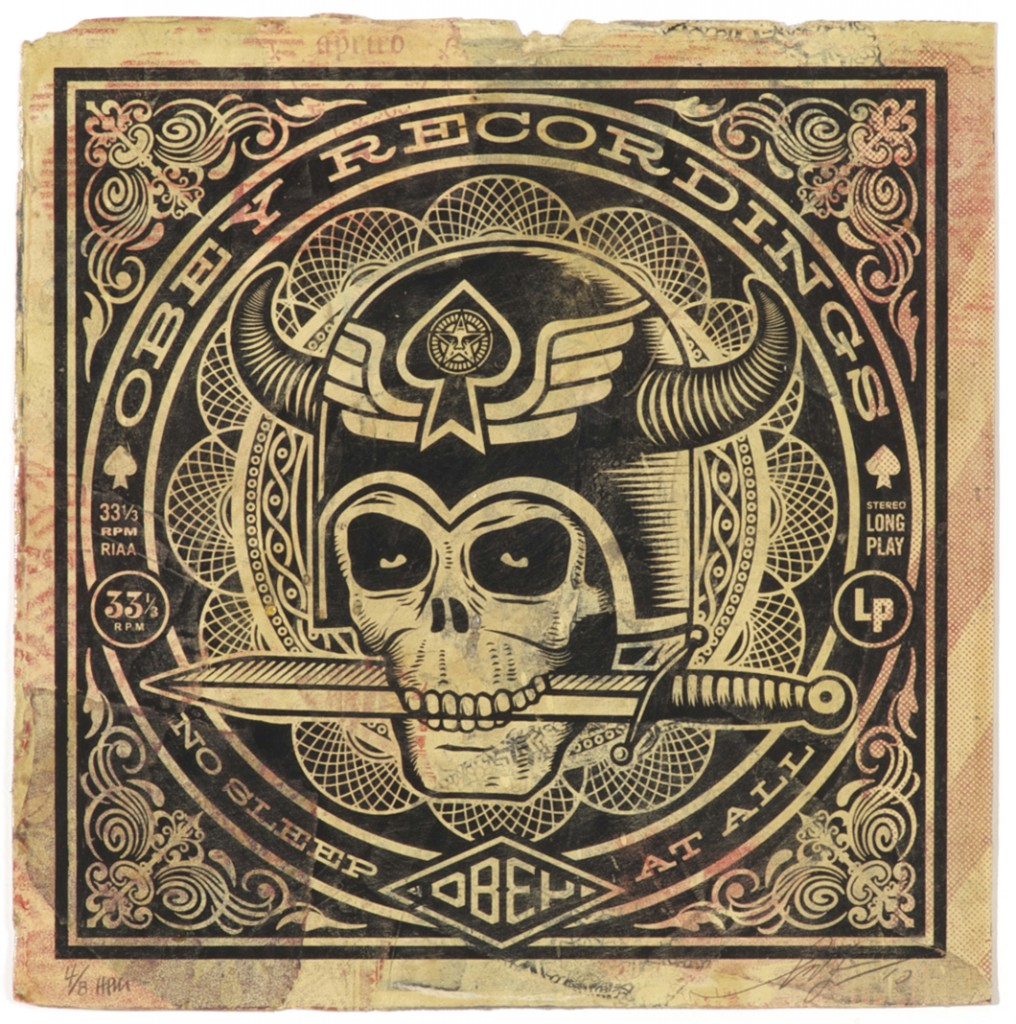 Shepard  Fairey -  <strong>No Sleep At All</strong> (2011<strong style = 'color:#635a27'></strong>)<bR /> Silkscreen and mixed media collage on album cover,   12 x 12 inches  (framed size TBD),   Hand painted multiple (HPM)  Signed and numbered   Edition of 8