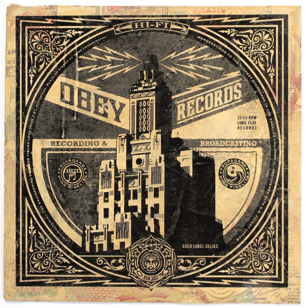 Shepard  Fairey -  <strong>OBEY Broadcasting</strong> (2011<strong style = 'color:#635a27'></strong>)<bR /> Silkscreen and mixed media collage on album cover,   12 x 12 inches  (framed size TBD),   Hand painted multiple (HPM)  Signed and numbered   Edition of 8
