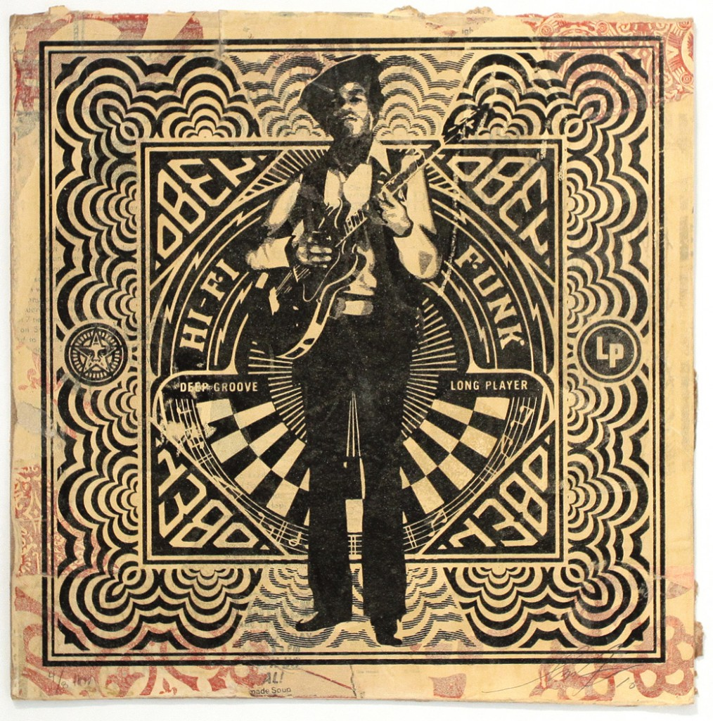 Shepard  Fairey -  <strong>OBEY Funk</strong> (2011<strong style = 'color:#635a27'></strong>)<bR /> Silkscreen and mixed media collage on album cover,   12 x 12 inches  (framed size TBD),   Hand painted multiple (HPM)  Signed and numbered   Edition of 8