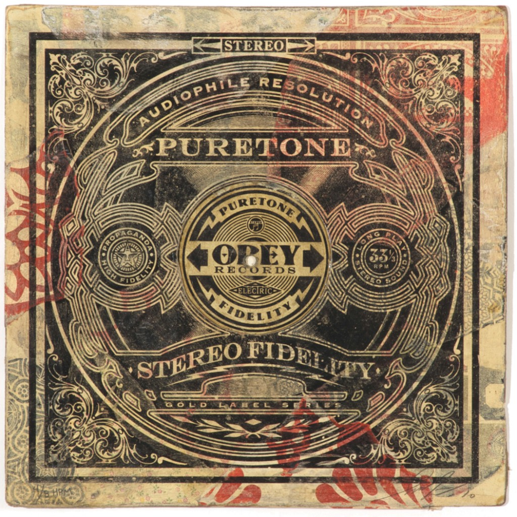 Shepard  Fairey -  <strong>Puretone</strong> (2011<strong style = 'color:#635a27'></strong>)<bR /> Silkscreen and mixed media collage on album cover,   12 x 12 inches  (framed size TBD),   Hand painted multiple (HPM)  Signed and numbered   Edition of 8