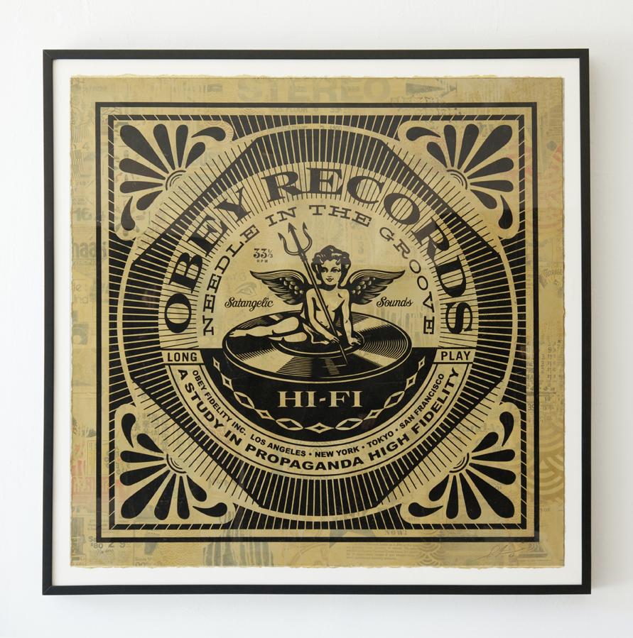 Shepard  Fairey -  <strong>Satangelic Sounds</strong> (2013<strong style = 'color:#635a27'></strong>)<bR /> silkscreen and mixed media collage on paper,   41.5 x 41.5 inches  (105.41 x 105.41 cm),   46 1/4 x 46 1/4 inches, framed,   HPM, edition 4 of 10