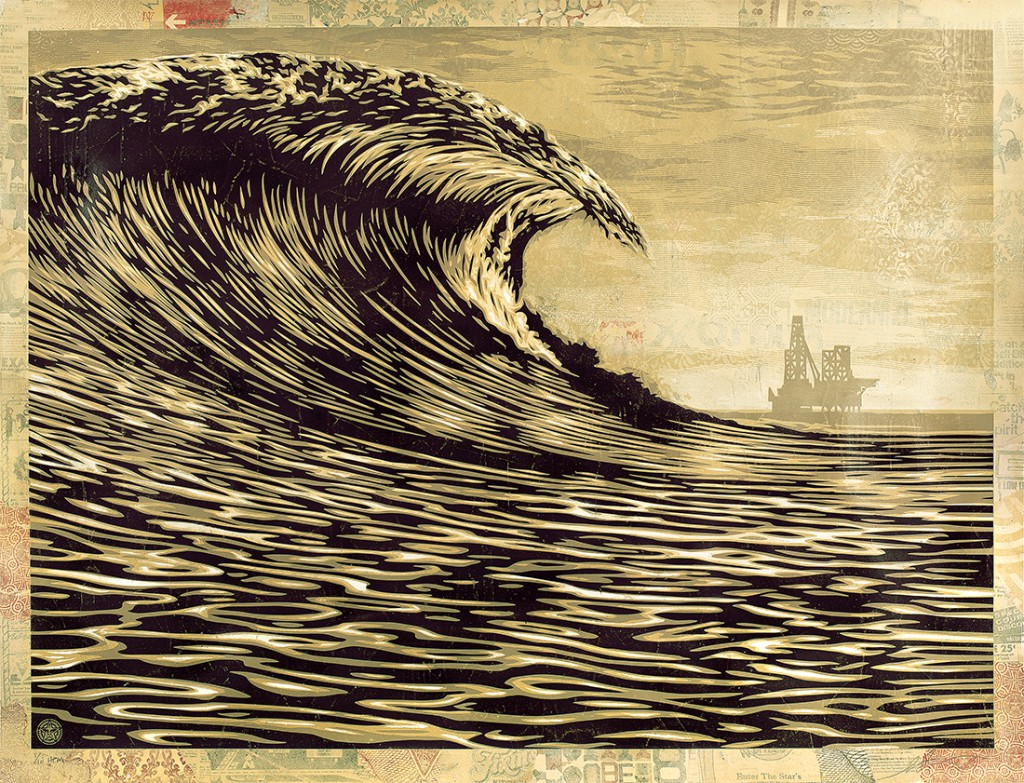 Shepard  Fairey -  <strong>This New Wave is a Little Slick for My Taste</strong> (2014<strong style = 'color:#635a27'></strong>)<bR /> silkscreen and mixed media collage on paper,   36 x 48 inches  (91.44 x 121.92 cm),   HPM, edition 6 of 10
