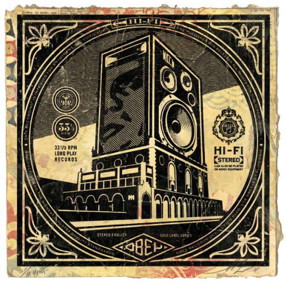 Shepard  Fairey -  <strong>Speaker Building</strong> (2011<strong style = 'color:#635a27'></strong>)<bR /> Silkscreen and mixed media collage on album cover,   12 x 12 inches  (framed size TBD),   Hand painted multiple (HPM)  Signed and numbered   Edition of 8