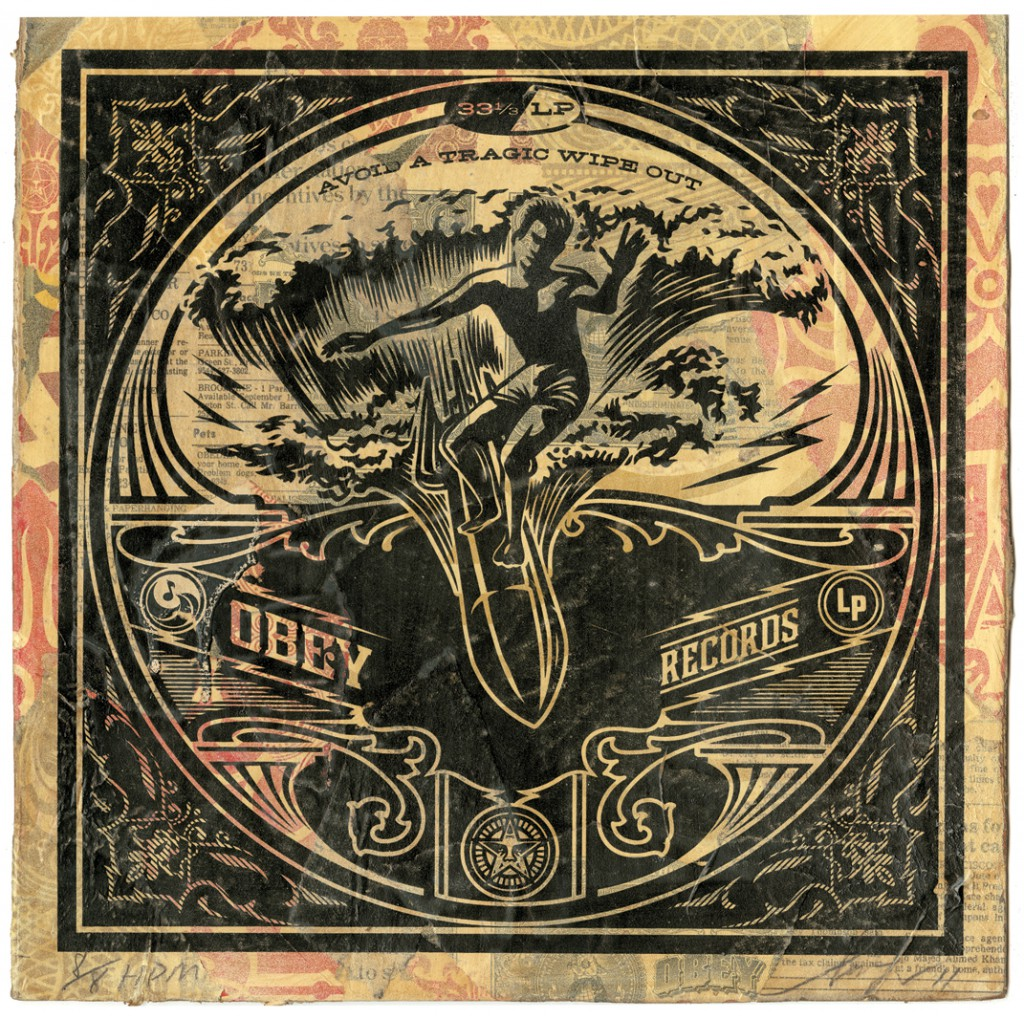 Shepard  Fairey -  <strong>Wipe Out</strong> (2011<strong style = 'color:#635a27'></strong>)<bR /> Silkscreen and mixed media collage on album cover,   12 x 12 inches  (framed size TBD),   Hand painted multiple (HPM)  Signed and numbered   Edition of 8
