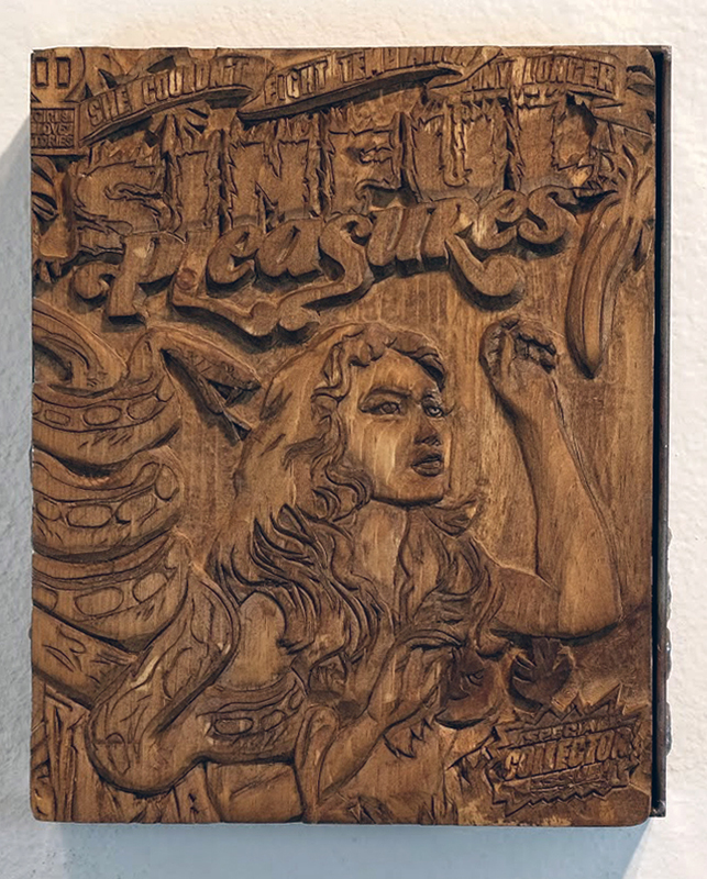 Faile  &nbsp -  <strong>Sinful Collector Carving</strong> (2014<strong style = 'color:#635a27'></strong>)<bR /> silkscreen ink on hand carved wood, steel frame,   8 x 12 x 3 inches  (20.32 x 30.48 x 7.62 cm)