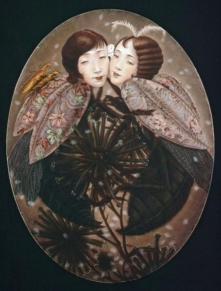 Xiaoqing  Ding -  <strong>Sister Flower</strong> (2002<strong style = 'color:#635a27'></strong>)<bR /> Egg Tempera on Panel,   55 x 41 inches