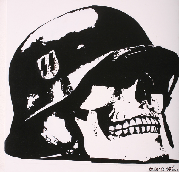 Blek le Rat  &nbsp -  <strong>Skull</strong> (2007<strong style = 'color:#635a27'></strong>)<bR /> Spraypaint on Canvas,   Edition 1 of 4,   23 1/2 x 23 1/2 inches