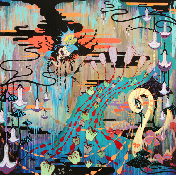Camille Rose  Garcia -  <strong>The Sleepwitch</strong> (2008<strong style = 'color:#635a27'></strong>)<bR /> Acrylic, Silver Leaf  and Glitter on Wood Panel,   48 x 48 inches