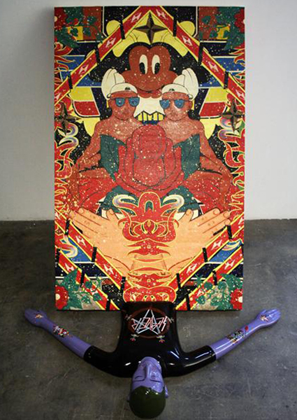 Louie  Cordero -  <strong>Smash the Cool, no. 4 (Death by the Most Holistic Influential Utopia)</strong> (2008<strong style = 'color:#635a27'></strong>)<bR /> acrylic on canvas with fiberglass and wood  63.75 x 39.75 x 61 inches   (162 x 101 x 155 cm)