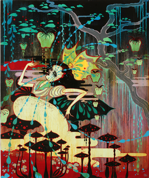Camille Rose  Garcia -  <strong>Snow Black Liberty</strong> (2008<strong style = 'color:#635a27'></strong>)<bR /> Acrylic, Silver Leaf  and Glitter on Wood Panel,   39 1/2 x 33 inches