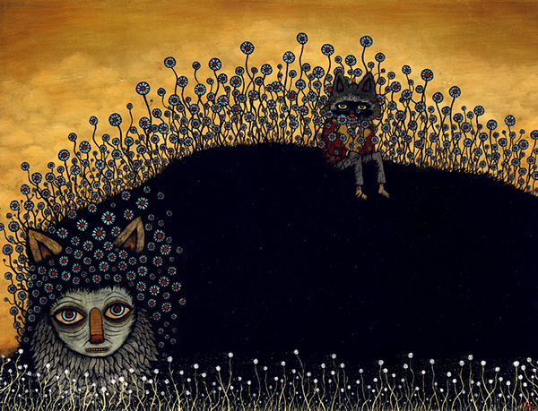 Andy  Kehoe -  <strong>Solace in the Unknown</strong> (2009<strong style = 'color:#635a27'></strong>)<bR /> acrylic and oil on panel,   image size: 18 x 24 inches,   framed size: 22 3/4 x 28 1/2 inches