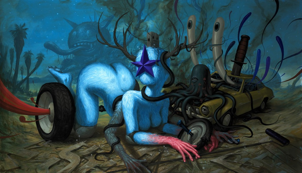 Jeff  Soto -  <strong>Car Crash</strong> (2010<strong style = 'color:#635a27'></strong>)<bR /> acrylic on panel,   48 x 84 x 1.875 inches   (121.92 x 213.36 x 4.76 cm)