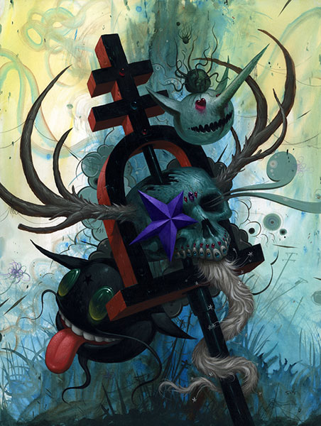 Jeff  Soto -  <strong>Riverside Lifer Totem 1</strong> (2010<strong style = 'color:#635a27'></strong>)<bR /> acrylic on wood,   24 x 18 in.   (61 x 45.7 cm)