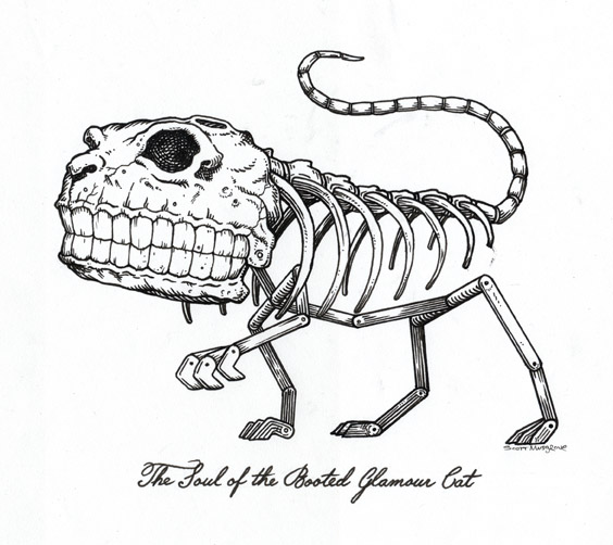 Scott  Musgrove -  <strong>The Soul of the Booted Glamour Cat</strong> (2010<strong style = 'color:#635a27'></strong>)<bR /> ink on paper  5 x 8 inches (12.7 x 20.32 cm)