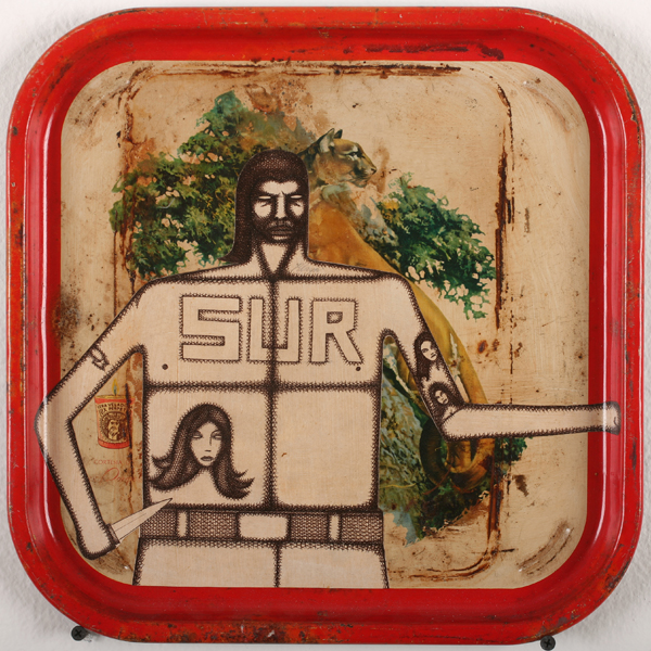 Date Farmers  &nbsp -  <strong>South of France</strong> (2010<strong style = 'color:#635a27'></strong>)<bR /> mixed media on found metal tray,   13.25 x 13.375 inches  (33.66 x 33.97 cm)