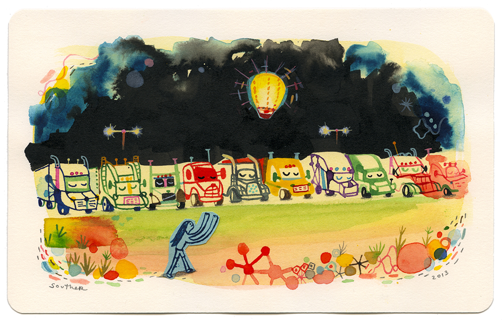 Souther  Salazar -  <strong>Five Dollar Balloons at the Truck Stop</strong> (2013<strong style = 'color:#635a27'></strong>)<bR /> watercolor, ink and collage on paper,   5 x 8 inches  (12.70 x 20.32 cm)  10.5 x 13.625 inches, framed