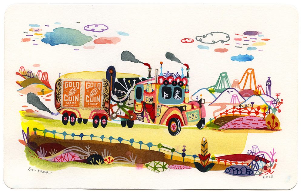 Souther  Salazar -  <strong>Gold Coin Trucking</strong> (2013<strong style = 'color:#635a27'></strong>)<bR /> watercolor, ink and collage on paper,   5 x 8 inches  (12.70 x 20.32 cm)  10.5 x 13.625 inches, framed