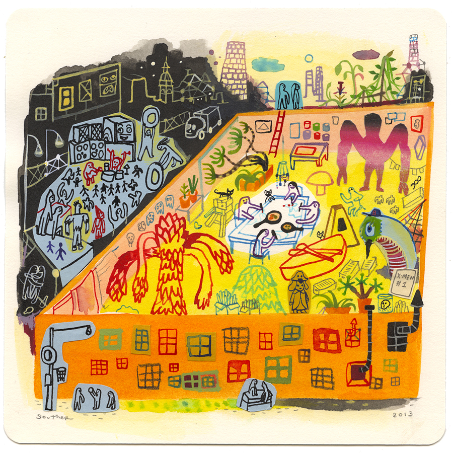 Souther  Salazar -  <strong>Hilarious Attic</strong> (2013<strong style = 'color:#635a27'></strong>)<bR /> watercolor, ink and collage on paper,   6.5 x 6.5 inches  (16.51 x 16.51 cm)  12 x 12 inches, framed