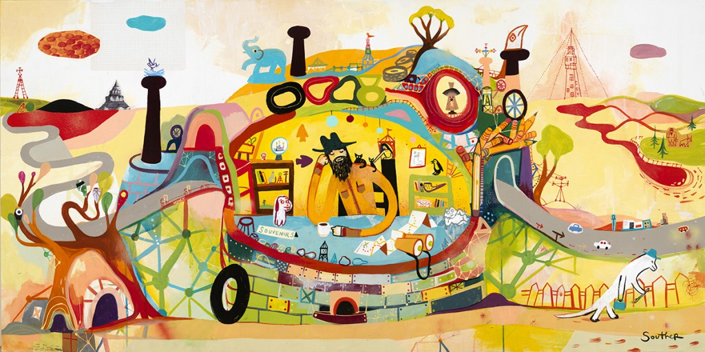 Souther  Salazar -  <strong>Souvenir Collector</strong> (2013<strong style = 'color:#635a27'></strong>)<bR /> mixed media on wood panel,   30 x 60 x 2 inches  (76.20 x 152.40 x 5.08 cm)  31 x 61 x 2.5 inches, framed