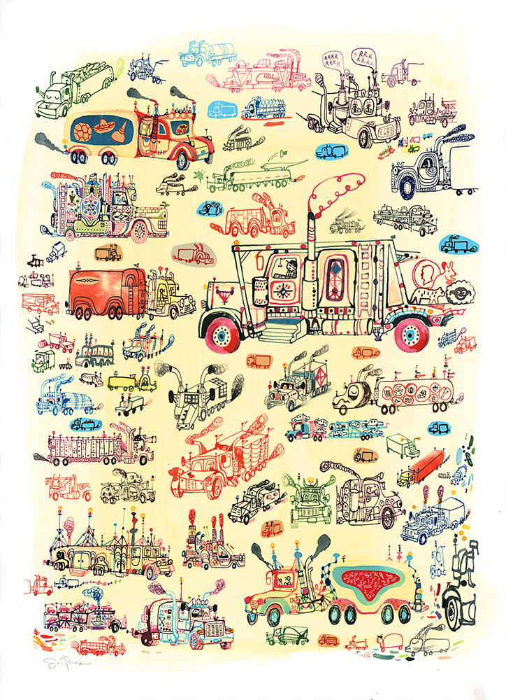 Souther  Salazar -  <strong>Trucks</strong> (2013<strong style = 'color:#635a27'></strong>)<bR /> watercolor, ink and collage on paper,   24 x 18 inches  (60.96 x 45.72 cm)  29 x 23 inches, framed