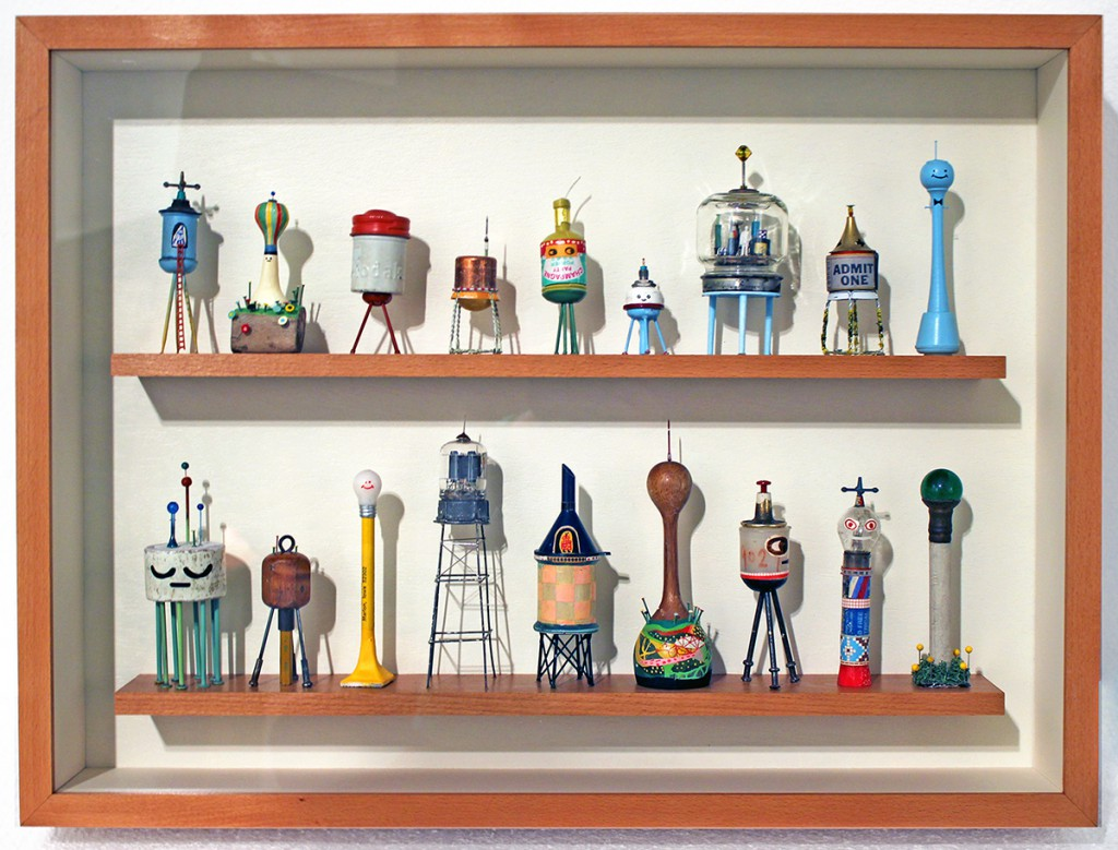 Souther  Salazar -  <strong>Water Tower Collection</strong> (2013<strong style = 'color:#635a27'></strong>)<bR /> found objects, polymer clay, collage, acrylic and ink,   21 x 21 x 3.75 inches  (53.34 x 53.34 x 9.53 cm)