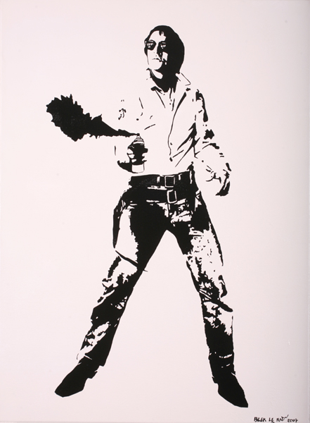 Blek le Rat  &nbsp -  <strong>Space Cowboy</strong> (2007<strong style = 'color:#635a27'></strong>)<bR /> Spraypaint on canvas,   Edition of 10,   30 1/3 x 22 inches