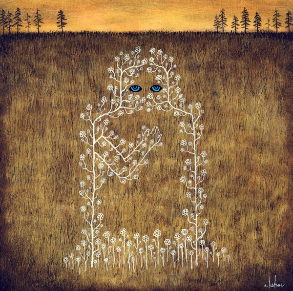 Andy  Kehoe -  <strong>Spirits Roam the Barren Fields</strong> (2009<strong style = 'color:#635a27'></strong>)<bR /> acrylic and oil on panel,   8 x 8 inches