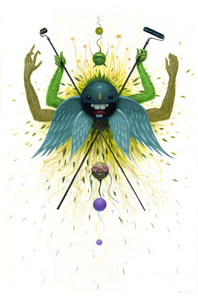 Jeff  Soto -  <strong>Spring - Birth</strong> (2010<strong style = 'color:#635a27'></strong>)<bR /> acrylic on paper  22.5 x 15 inches (57.15 x 38.1 cm)   25.25 x 17.75 inches, framed