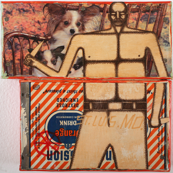 Date Farmers  &nbsp -  <strong>St. Luis. MO.</strong> (2010<strong style = 'color:#635a27'></strong>)<bR /> mixed media on metal,   9 x 9 x 1.5 inches  (22.86 x 22.86 x 3.81 cm)