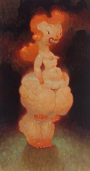 Dave  Cooper -  <strong>Standing</strong> (2010<strong style = 'color:#635a27'></strong>)<bR /> oil on canvas  41 x 22 inches  (104.14 x 55.88 cm)