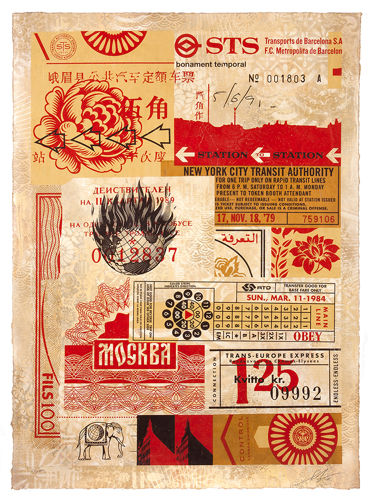 Shepard  Fairey -  <strong>Station To Station 2</strong> (2012<strong style = 'color:#635a27'></strong>)<bR /> silkscreen and mixed collage on paper,   39 1/2 x 54 3/4 inches  (100.33 x 139.07 cm),   HPM, edition 10 of 10
