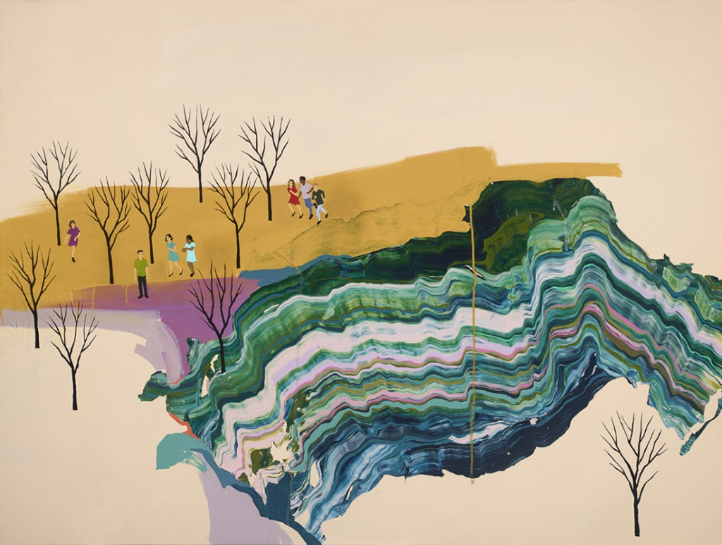 Seonna  Hong -  <strong>Steady Friends</strong> (2015<strong style = 'color:#635a27'></strong>)<bR /> acrylic on canvas,   36 x 48 inches  (91.44 x 121.92 cm)