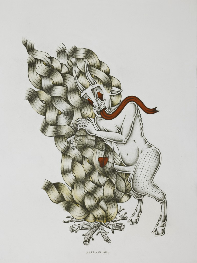 Stephan  Doitschinoff -  <strong>A Fogueira (The Bonfire)</strong> (2011<strong style = 'color:#635a27'></strong>)<bR /> acrylic and graphite on paper,   35 x 27.5 inches, framed  (88.9 x 69.85 cm)