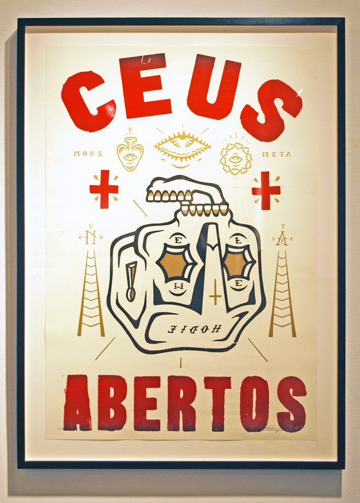 Stephan  Doitschinoff -  <strong>Ceus Abertos (Open Skies)</strong> (2011<strong style = 'color:#635a27'></strong>)<bR /> screen print on paper,   38 x 26 inches  (96.5 x 66.5 cm),   Edition 90 of 100