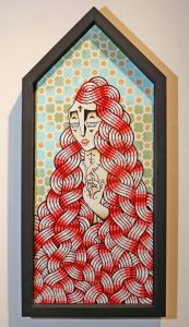 Stephan  Doitschinoff -  <strong>Contra Tudo (Against All)</strong> (2011<strong style = 'color:#635a27'></strong>)<bR /> Acrylic and silkscreen on paper,   35 x 16.5 x 3.25 inches, framed  (88.9 x 41.9 x 8.25 cm),   Edition 3 of 30