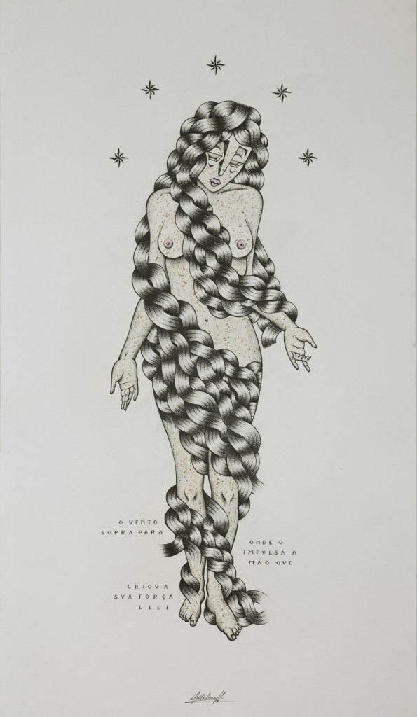 Stephan  Doitschinoff -  <strong>O Vento Sopra (The Wind Blows)</strong> (2011<strong style = 'color:#635a27'></strong>)<bR /> acrylic and graphite on paper,   43.75 x 24.5 inches, framed  (111 x 62 cm)