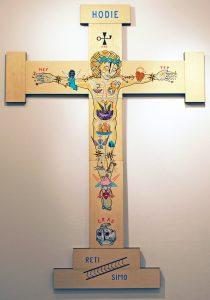 Stephan  Doitschinoff -  <strong>The Cross</strong> (2011<strong style = 'color:#635a27'></strong>)<bR /> acrylic and silkscreen on wood panel,   92 x 64.5 inches  (233.68 x 163.83 cm),   Hand-painted multiple (HPM)  Edition of 1 of 7