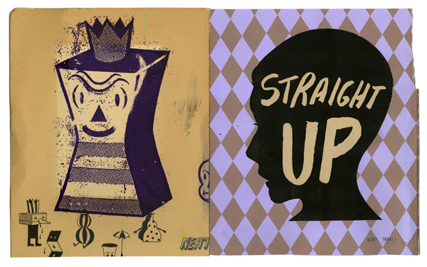 Gary  Taxali -  <strong>Straight Up</strong> (2009<strong style = 'color:#635a27'></strong>)<bR /> mixed media on paper,   image size: 10 3/4 x 17 1/2 inches,   framed size: 15 1/2 x 22 inches