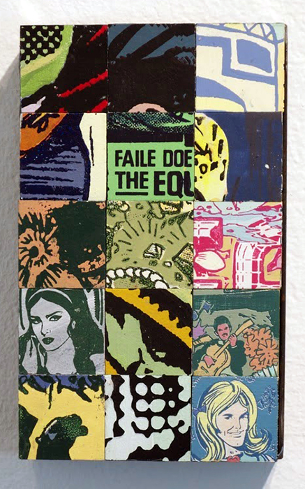Faile  &nbsp -  <strong>Study #1986201409</strong> (2014<strong style = 'color:#635a27'></strong>)<bR /> acrylic and silkscreen ink on wood, steel frame,   10 x 6 x 3 inches  (25.40 x 15.24 x 7.62 cm)