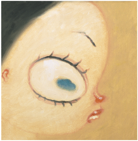 Dave  Cooper -  <strong>Study of a Grumpy Girl C</strong> (2002<strong style = 'color:#635a27'></strong>)<bR /> Oil on Canvas,   8 x 8 inches