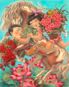 """Xiaoqing  Ding -  <strong>Sweet Blossom</strong> (2007<strong style = 'color:#635a27'></strong>)<bR /> Pastel on Paper,  <p class=""""MsoNormal""""><span style=""""font-family: Helvetica;"""">Image size: 40 x 32 inches,   </span>,  <p class=""""MsoNormal""""><span style=""""font-family: Helvetica;"""">Framed size: 41 x 33 inches</span>,  <p class=""""MsoNormal""""><span style=""""font-family: Helvetica;"""">,   </span>"""
