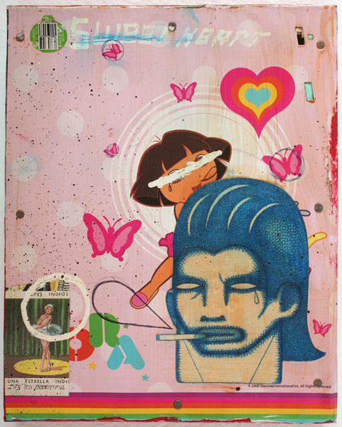 Date Farmers  &nbsp -  <strong>Sweet Heart</strong> (2010<strong style = 'color:#635a27'></strong>)<bR /> mixed media on metal,   9.625 x 7.75 x 1.625 inches  (24.45 x 19.69 x 4.13 cm)
