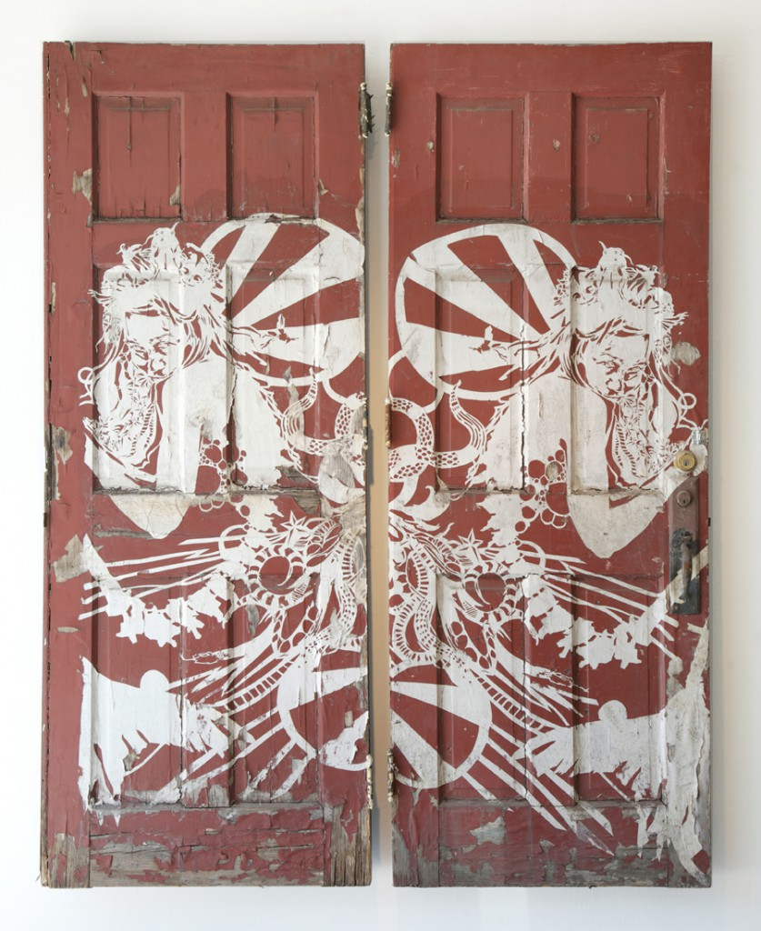 Swoon  &nbsp -  <strong>#236 Miss Rockaway</strong> (<strong style = 'color:#635a27'></strong>)<bR /> paper cut pasted to former Braddock church doors,   88 x 69 inches, total  (223.5 x 175.2 cm),   88 x 34 inches, each