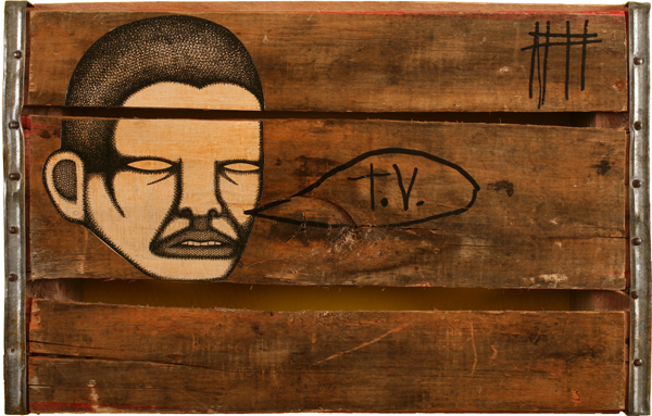 Date Farmers  &nbsp -  <strong>TV Talk</strong> (2008<strong style = 'color:#635a27'></strong>)<bR /> Mixed Media and Collage on Wooden Crate,   11 1/2 x 18 inches