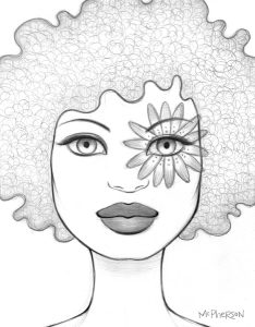 Tara  McPherson -  <strong>The Day's Eye Trance</strong> (2010<strong style = 'color:#635a27'></strong>)<bR /> graphite on bristol,   14.5 x 12.25 inches (36.83 x 31.12 cm)  9.5 x 7.5 inches image  16.5 x 14.25 inches framed